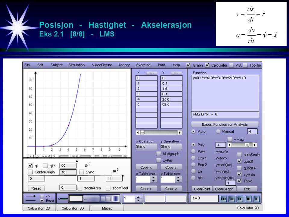 Posisjon - Hastighet - Akselerasjon Eks 2.1 [8/8] - LMS